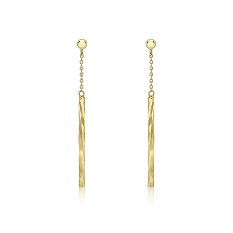 9ct Yellow Gold Bar Drop Earrings