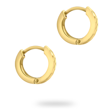 9ct Yellow Gold Pyramid Creole Hoop Earrings