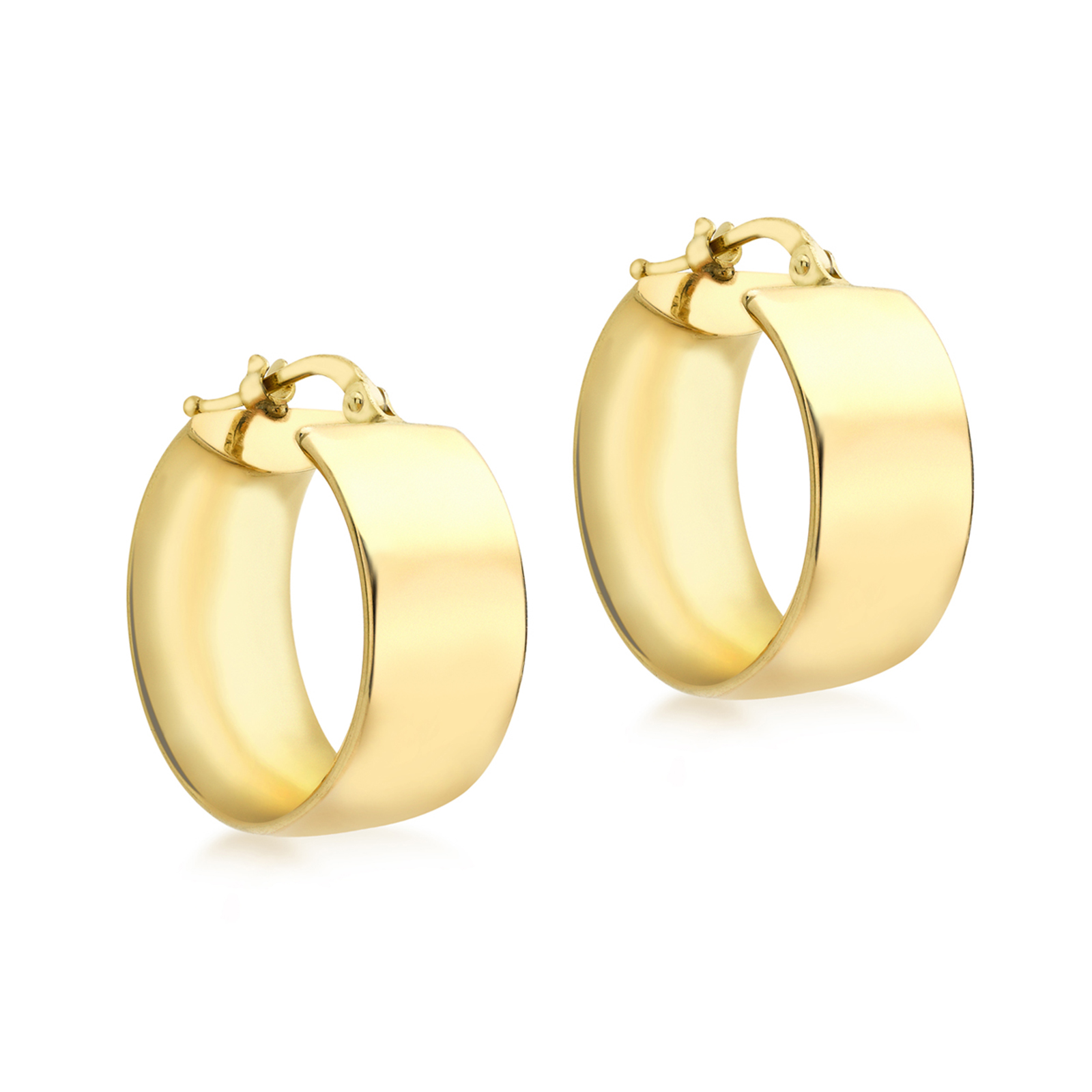 9ct Yellow Gold Medium Broad Creole Hoop Earrings by Goldsmiths