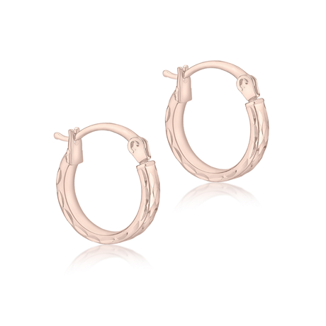 9ct Rose Gold 12mm Diamond Cut Hoop Earrings