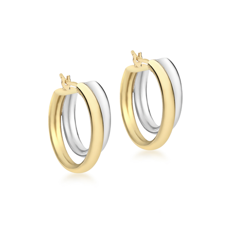 9ct Gold 19mm  Double-Creole Hoop Earrings