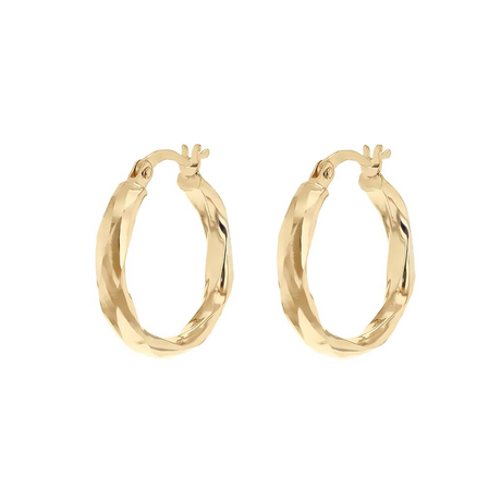 9ct Yellow Gold 18.5mm Creole Hoop Earrings