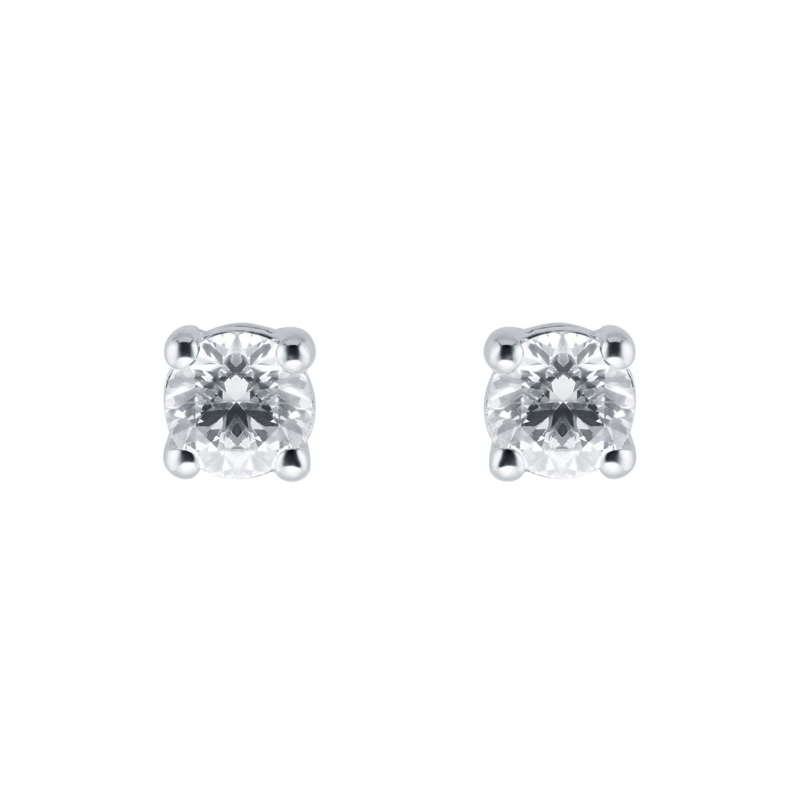 0b24db28b 9ct White Gold Round Brilliant 4mm Cubic Zirconia Stud | Earrings |  Jewellery | Goldsmiths