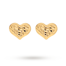 9ct Yellow Gold Sliding Heart Puff Earrings