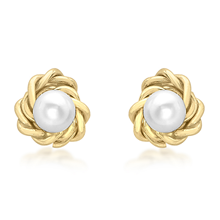 9ct Yellow Gold 5mm Knot and Pearl Stud Earrings