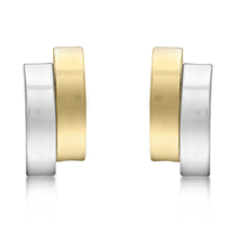 9ct Bicolour Gold 2 Band Earrings