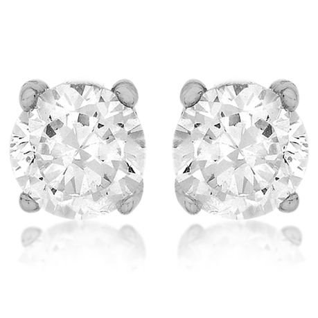 Silver 7mm Round Crystal Earrings