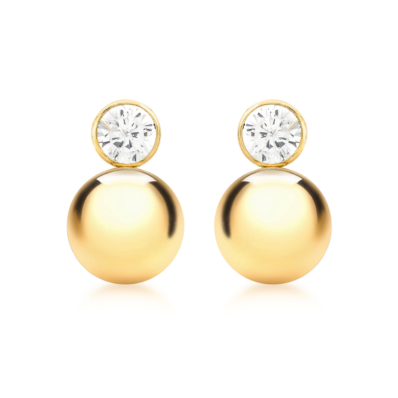 9ct Yellow Gold 5mm and 9mm Ball Drop Earrings