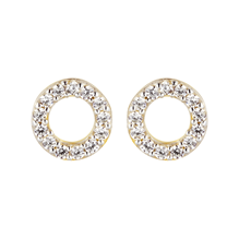 9ct Yellow Gold Cubic Zirconia Circle Stud Earrings