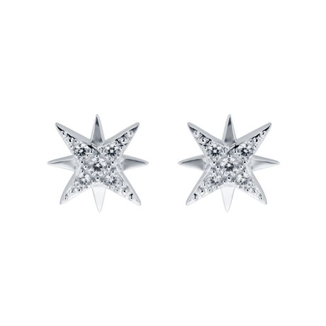 9ct White Gold Cubic Zirconia Starburst Stud Earrings