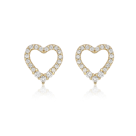 9ct Yellow Gold Cubic Zirconia Heart Stud Earrings