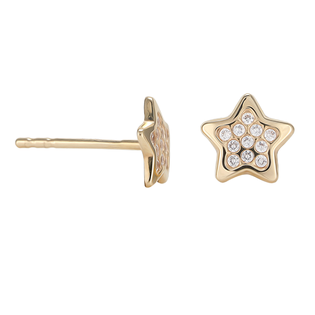 9ct Yellow Gold Cubic Zirconia Pave Star Stud Earrings