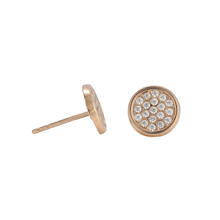 9ct Rose Gold Cubic Zirconia Pave Circle Stud Earrings