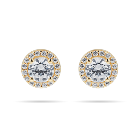 9ct Yellow Gold Cubic Zirconia Halo Stud Earrings. Earring Size 7.7mm