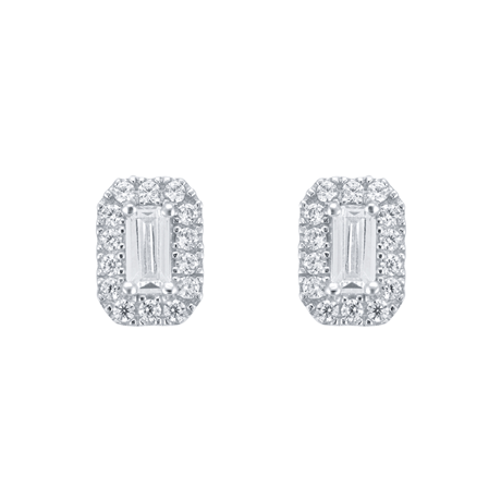 9ct White Gold Emerald Cut Cubic Zirconia Stud Earrings