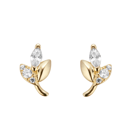 9ct Yellow Gold Marquise Cut Cubic Zirconia Stud Earrings