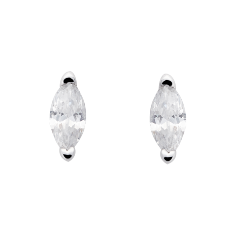 9ct White Gold Marquise Cut Cubic Zirconia Stud Earrings