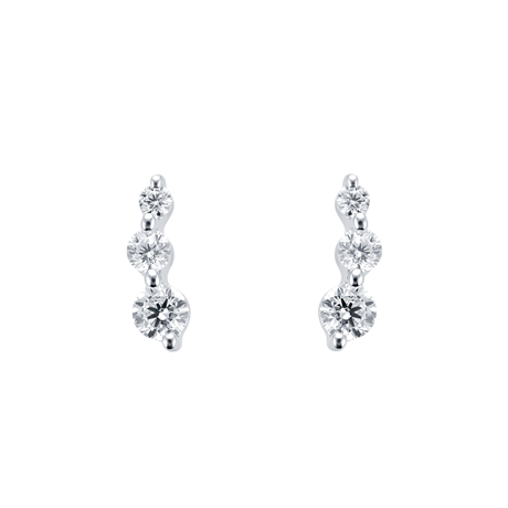 9ct White Gold Three Stone Cubic Zirconia Climber Stud Earrings