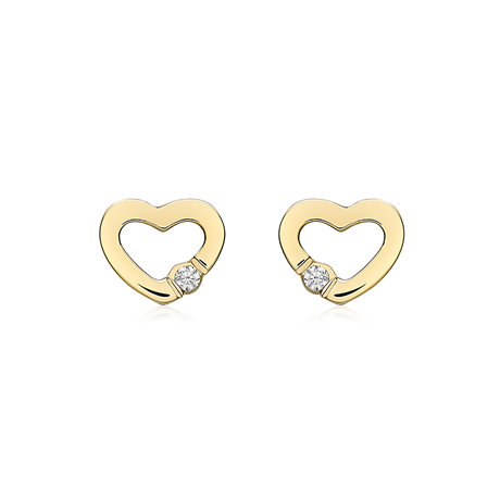 9ct Yellow Gold Cubic Zirconia Open Heart Stud Earrings