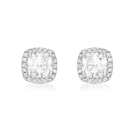 9ct White Gold Cushion Cut Cubic Zirconia Stud Earrings