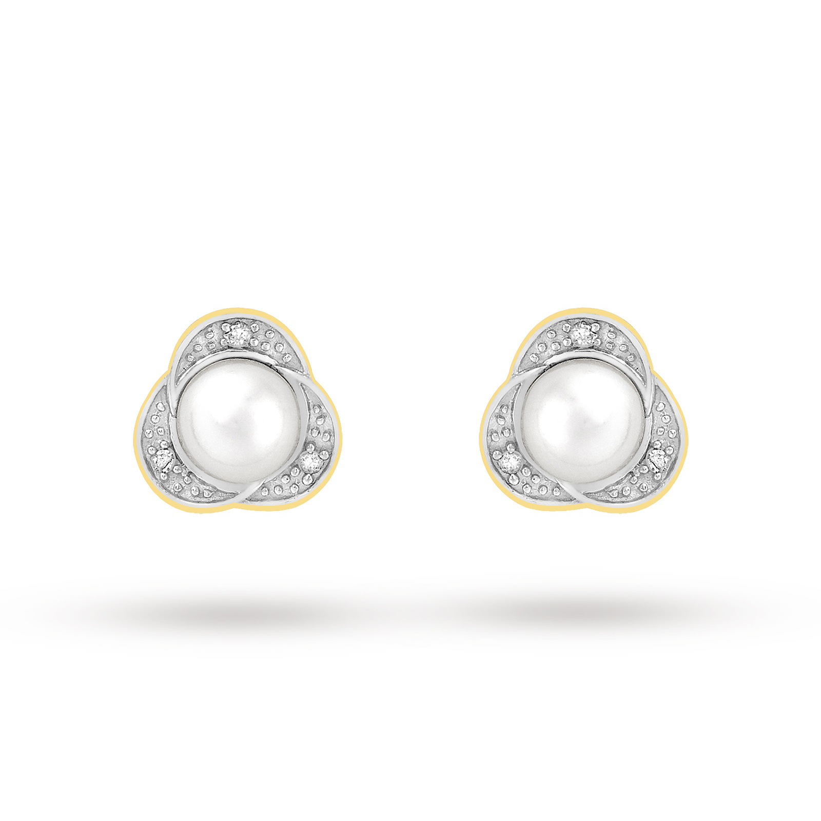 9ct Yellow Gold Diamond And Pearl Stud Earrings
