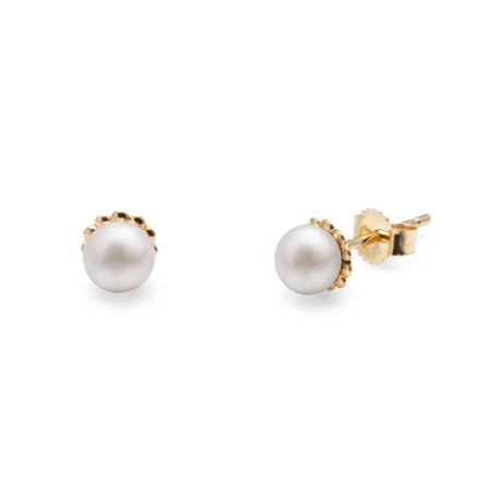 9ct Yellow Gold Pearl Mini Orbit Stud Earrings