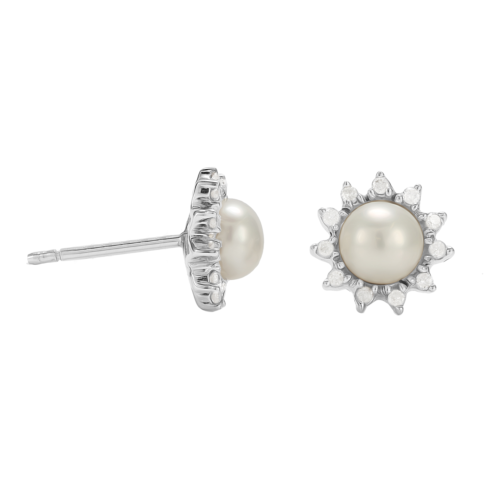 9ct White Gold Pearl Diamond Flower Halo Stud Earrings
