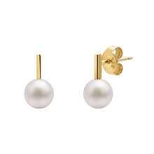 9ct Yellow Gold Pearl Bar Stud Earrings