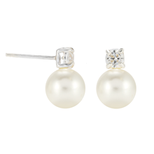 Silver Pearl & Cubic Zirconia Simple Stud Earrings