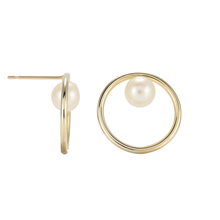 9ct Yellow Gold Pearl Circle Stud Earrings