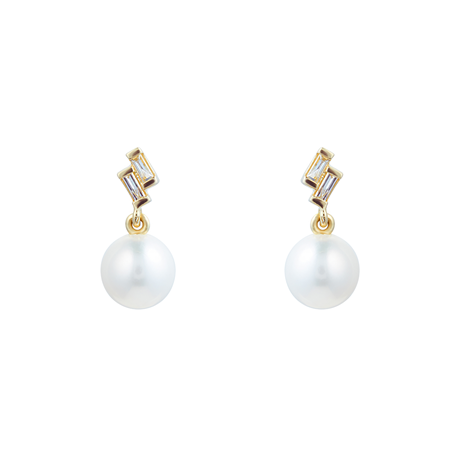9ct Yellow Gold Fresh Water Pearl & Diamond Drop Earrings