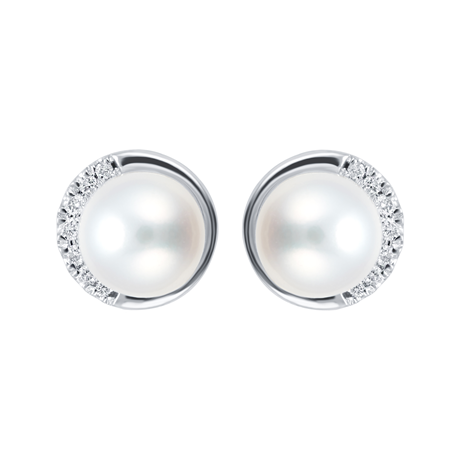 9ct White Gold Cultured Fresh Water Pearl & Diamond Stud Earrings