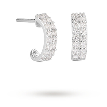 9ct White Gold Double Row Cubic Zirconia Hoop
