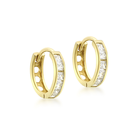 9ct Yellow Gold Cubic Zirconia Huggie Hoop Earrings