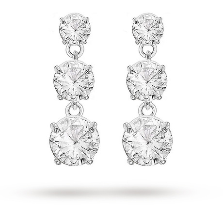 Silver Cubic Zirconia 3 Stone Drop Earrings