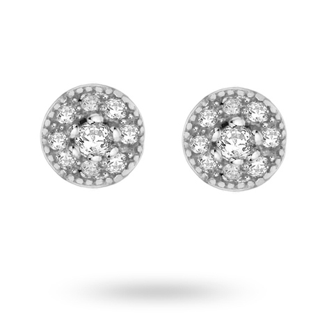 Silver Cubic Zirconia Mini Halo Stud Earrings