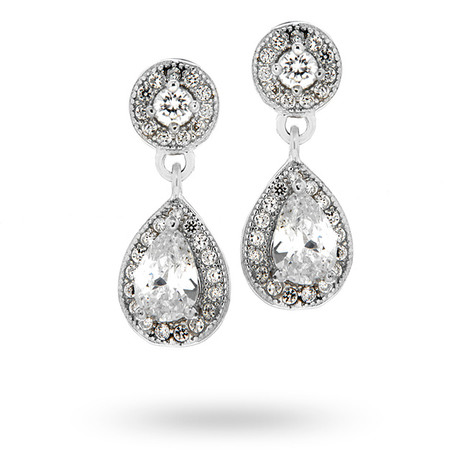 Silver Cubic Zirconia Drop Pear Halo Stud Earrings
