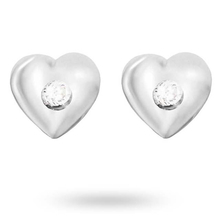 Silver Cubic Zirconia Heart Mini Stud Earrings