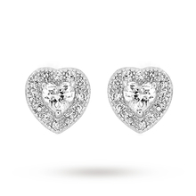 Rhodium Plated Cubic Zirconia Heart Earrings