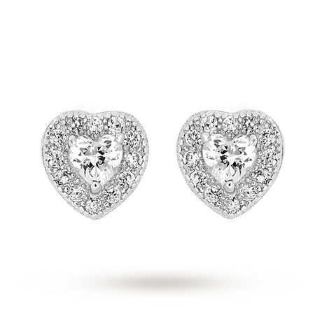 For Her - Rhodium Plated Cubic Zirconia Heart Earrings - 8.58.7389