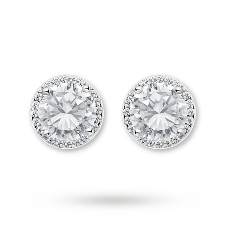 Sterling Silver Halo Stud Earrings