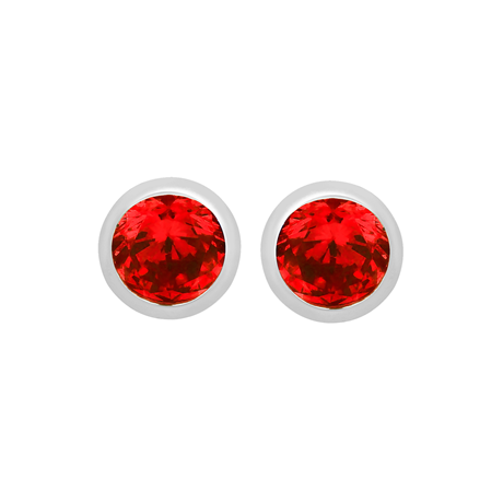Silver January Red Cubic Zirconia Stud Earrings