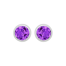Silver February Purple Cubic Zirconia Stud Earrings