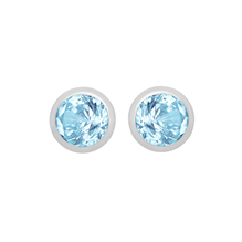 Silver March Turquoise Cubic Zirconia Stud Earrings
