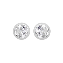 Silver April White Cubic Zirconia Stud Earrings