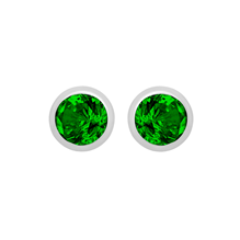 Silver May Green Cubic Zirconia Stud Earrings