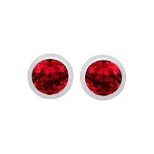 Silver July Red Cubic Zirconia Stud Earrings