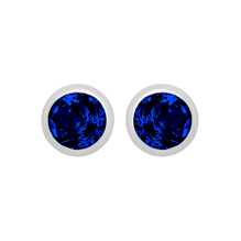 Silver September Blue Cubic Zirconia Stud Earrings