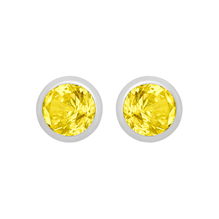 Silver November Yellow Cubic Zirconia Stud Earrings