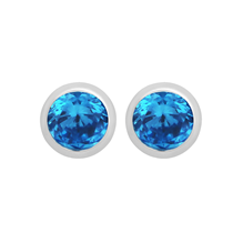 Silver December Blue Topaz Cubic Zirconia Stud Earrings